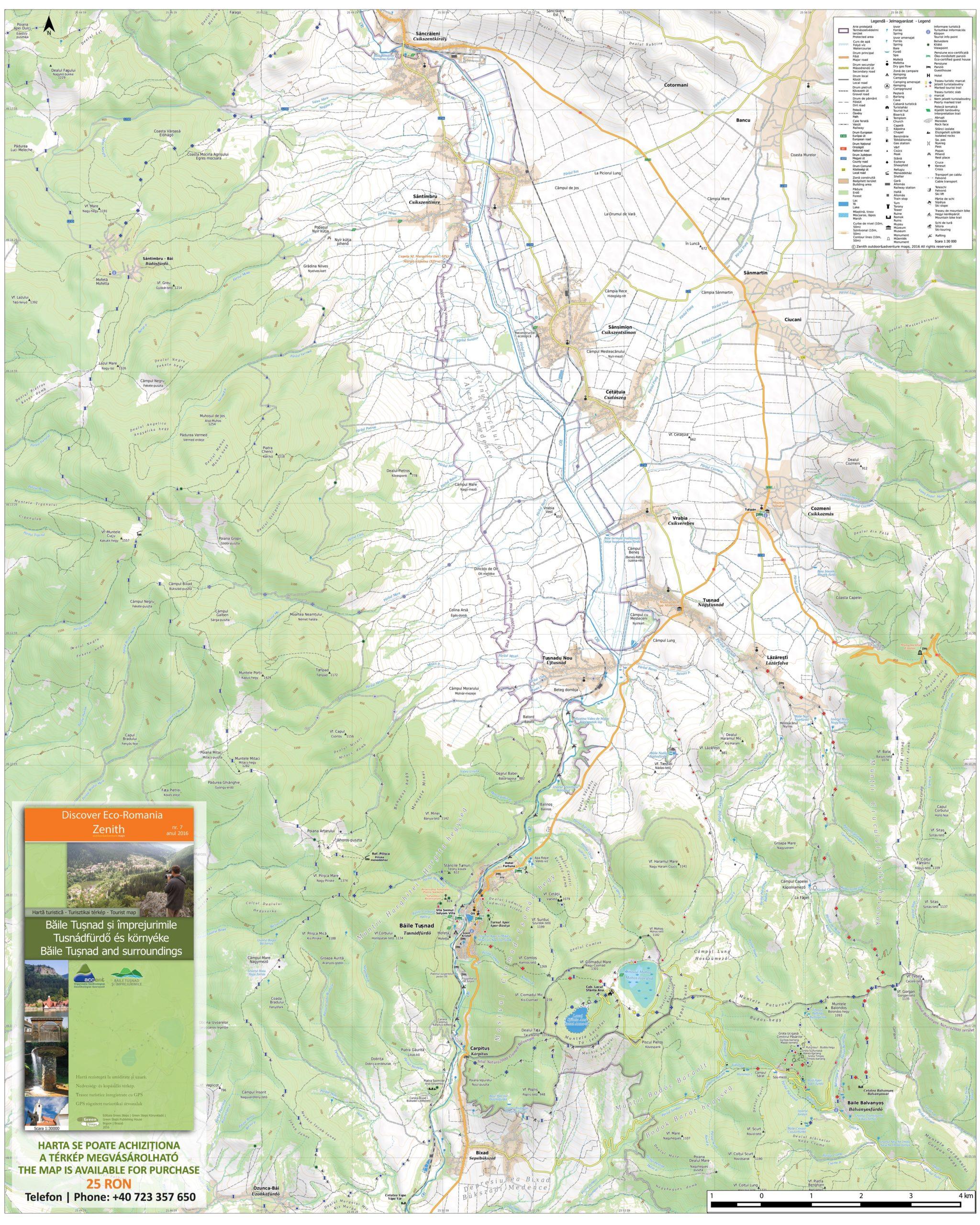 Harta destinatiei Baile Tusnad si Imprejurimile
